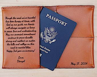 Third Wedding Anniversary Gift, Leather Passport Holder, For Husband, Leather 3rd Anniversary Gift, For Wife, Personalized, Custom Note,