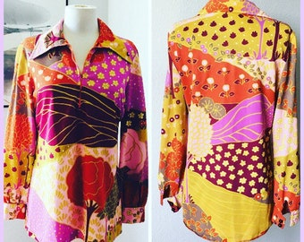 1960's Psychedelic Flower Power Dream Butterfly Collar Blouse Medium