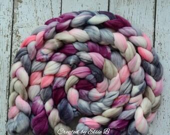 Superwash Merino/Merino/Silk 'More Amore' 4 oz spinning fiber, combed top, Created by ElsieB hand dyed roving, superwash roving for spinning