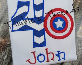 Captain America Birthday Shirt / Super Hero / Personalized / Boy / Girl