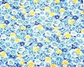 Blue and Yellow Floral Cotton Fabric, 100 Percent Cotton Fabric, Quilting Fabric, Sewing Fabric, Blue and Yellow Fabric