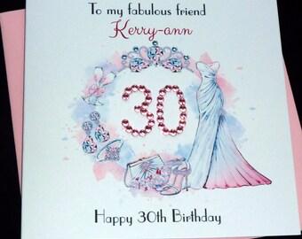 Personalised fashion / bling birthday card