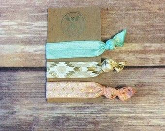 Set of 3 - Peach/White/Mint Hair Tie