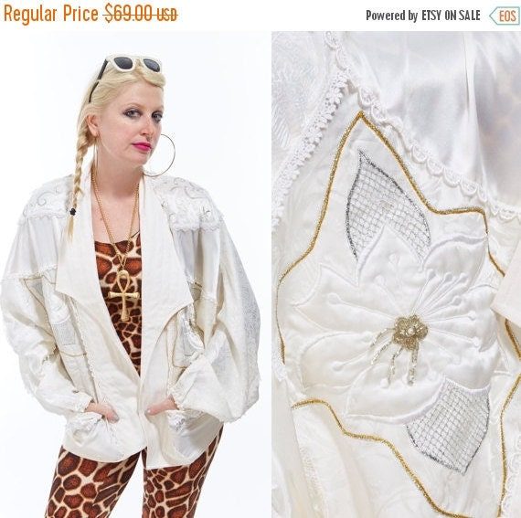 Vtg 80s Designer BONNIE BOERER Deadstock Rare Blazer JACKET Cardigan Silk Sequin Beaded Trophy Scalloped Ornate Avant Garde Batwing Dolman