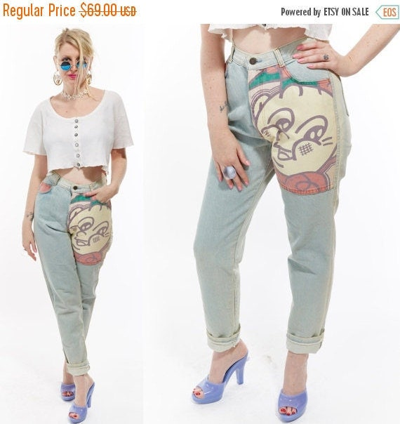 Vtg 80s 90s Faded Distressed GRUNGE High Waisted Mom JEANS Denim PATCHWORK Novelty Print Cartoon Graphic Boho Hippie Festival Club Kid rave