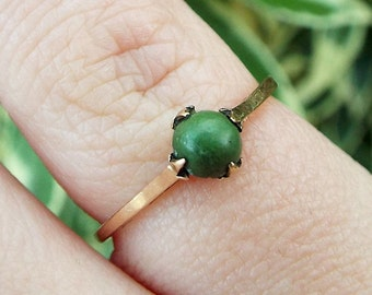 Antique / Victorian Edwardian 9ct Yellow Gold Turquoise Solitaire Ring / Size K 1/2