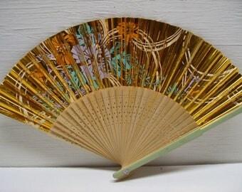 Asian Hand Painted Gold Flower Floral Hand Held Folding Fan # Fan41