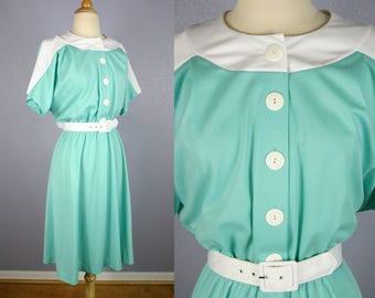 Vintage 70s MINT Green Dress Secretary Dress MOD Dress 70s Does 50s Dress Plus Size Dress Shirt Dress Midi Skirt Short Sleeve Day Dress BOHO
