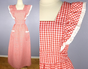 Vintage 70s Maxi Dress PINAFORE APRON Dress Red White GINGHAM Check Boho Chic Tablecloth Dress Festival Dress Garden Party Sundress Lace