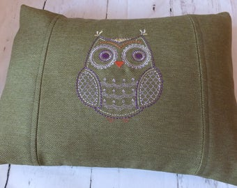 Cushion, Machine Embroidered Owl Cushion, Decorative Cushion, Handmade