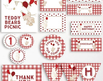Teddy Bears Picnic Printable Party Pack Bunting Chocolate Wrappers Welcome Sign Thank You Card Cupcake Toppers Water Bottle Labels