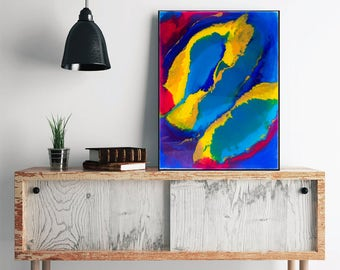 Colorful Abstract Acrylic Painting, Original Abstract Art, Blue Yellow Canvas Art Home Decor Modern Art, Abstract Yellow Blue Wall Art