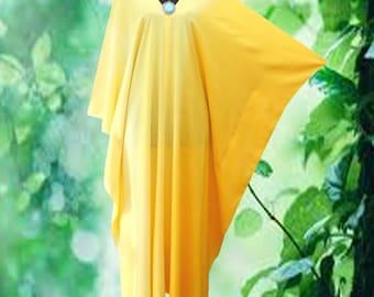 Elegant Gradation Yellow Hand dyed V neck Gypsy Kaftan Dress Plus Size