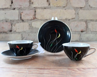 vintage espresso cups,pair of mocca cups, saucers,black china, 50s ,wedding gift,fine table decor,