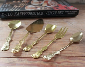 vintage cutlery, gold plated, 15 pieces