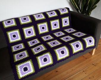 Purple Throw Blanket Purple Crochet Blanket Green Crochet Throw Purple Blanket Green Blanket READY TO SHIP