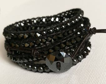 Swarovski Crystal and Hematite gemstone,chan Luu style leather wrap bracelet. Sparkling Swarovski crystal button. Evening wear. Biker chick