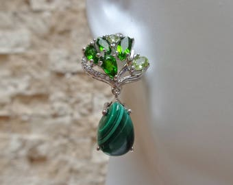 Pretty Malachite, Chrome Diopside and Peridot earrings in Sterling Silver with Pave CZ