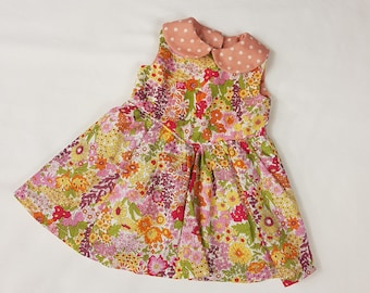 Liberty Sun Dress with polka dot collar to fit American Girl Doll or 18in Doll's