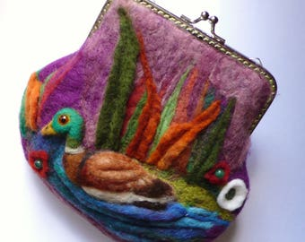 Wet Felted Mallard duck coin purse Ready to Ship with gift wrapping, frame metal closure Kiss lock gift for her