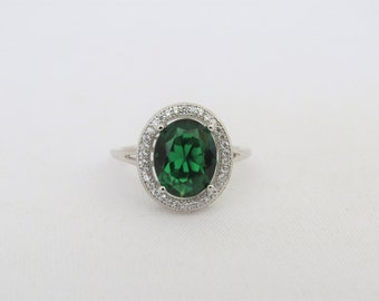 Vintage Sterling Silver Emerald & White Topaz Engagement Ring Size 7.25