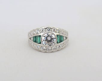 Vintage Sterling Silver White Topaz & Emerald Ring Size 8
