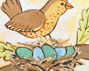 Bird with Nest NURTURE Set of FOUR Blank Note Card with original art by Cortney Rector Designs