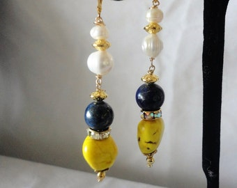 Exquisite Lapis Yellow Turquose Fresh Water Pearls Earrings*****.