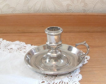 Silver plate candle stick holder or chamber stick Grenadier England