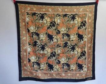 "Vintage Eastex Floral Flower Baroque scarf 77cm x 76cm / 30.3"" x 29.9"""