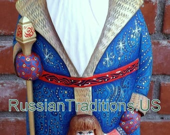 Santa Claus with Snowmaiden. Hand Carved and Hand Painted. Russia.