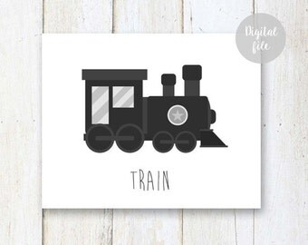 Train wall art - Boys room wall decor - Black cars and construction machines wall art - INSTANT DOWNLOAD