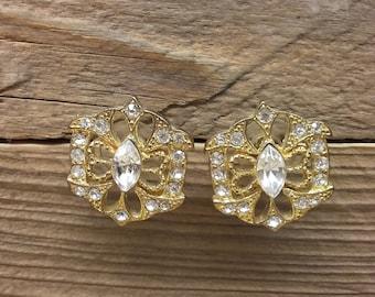 Vintage Brass Golden Color White Rhinestones Charming Women Stud Earrings