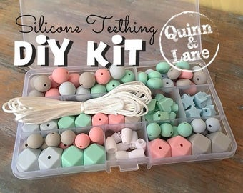 Silicone Teething DIY Kit - Silicone Beads & Supplies - Make Your Own Baby Chew Jewelry Teething Necklace - Icicle/Mint/Candy/Moon (HS)