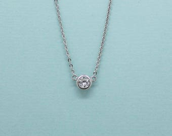 Single CZ Diamond Bezel setting Dainty Necklace ~ Silver / Gold, Simple / Minimal Jewelry