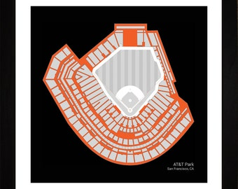 AT&T Park, San Francisco Giants, Stadium, Seating Art Print, Baseball Gift, 16x16, SSFGB1616