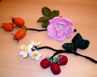 Artificial Berries: Rosehip and Raspberry branches with berries & flowers Needle Felted