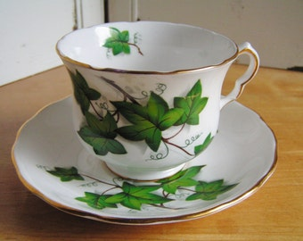 Vintage Royal Kent Ivy Design Fine Bone China Cup and Saucer Tea Cup Set Made in England Tea Party Cottage Chic