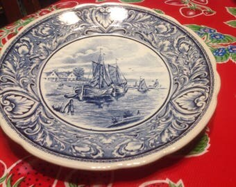 Vintage Boch Delfts plate  with sailing boats scene
