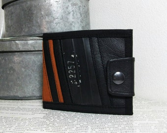 Re-cicle, Handmade Personalized Wallet, Steampunk, Recycled Tire, Vegan Leather, Mens Leather Wallet, Womens Leather Wallet, UNUSUAL