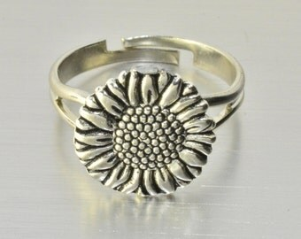 Sunflower Ring,Silver Sunflower Ring,Sunflower Jewelry,Best Friend Gift,Sister Gift,Daughter Gift,BFF Gift,Friend Gift,Christmas Gift
