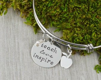 Teach Love Inspire Adjustable Bangle Bracelet with Apple Charm - Teacher Appreciation Gift Stacking Bangle