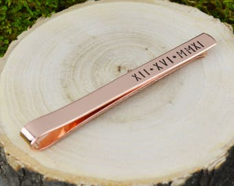 Best Day Ever Tie Bar with Custom Roman Numeral Date - Hand Stamped Groom Gift