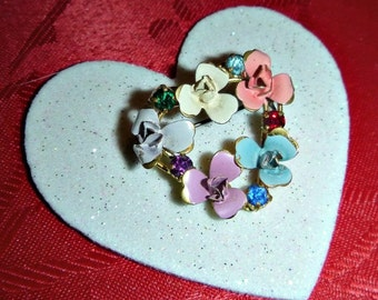 Victorian Flower Heart Brooch Vintage Floral Rhinestone Pin Enamel Broach Forget Me Not Wedding Anniversary Gift Austrian Valentines Jewelry
