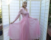 PreHoliday & Black Friday Vintage 50's Pink Princess Gown . Fairy Tale Jersey Knit Bodice and Chiffon Skirt . MISS ELLIETTE Calif. label . L