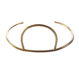 Sunrise Brass Cuff; Circle Cuff; Brass Cuff; Sterling Silver Cuff; Brass Bracelet; Brass Bangle; Geometric Cuff; Geometric Jewelry