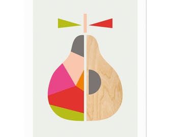 Geometric Pear Scandinavian Art, Scandi Art, Scandi Pear, Modern Wall Art, Modern Nursery Decor, Kids room art, Scandi Art