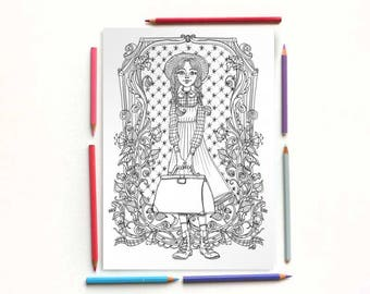 Coloring page PDF -Anne Shirley with a suitecase coloring portrait - Lucy Maud Montgomery Anne of the green gables- Instant download