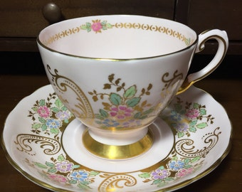Vintage Tuscan Tea Cup, Fine Bone China Teacup and Saucer, Pink Tea Cup and Saucer, Made in England, Vintage Tea Cup and Saucer