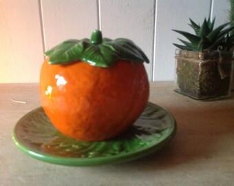 Vintage Ceramic Orange Marmalade Pot - Majolica Style